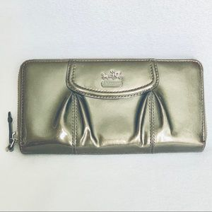 Coach Madison Patent Pewter Accordion Wallet